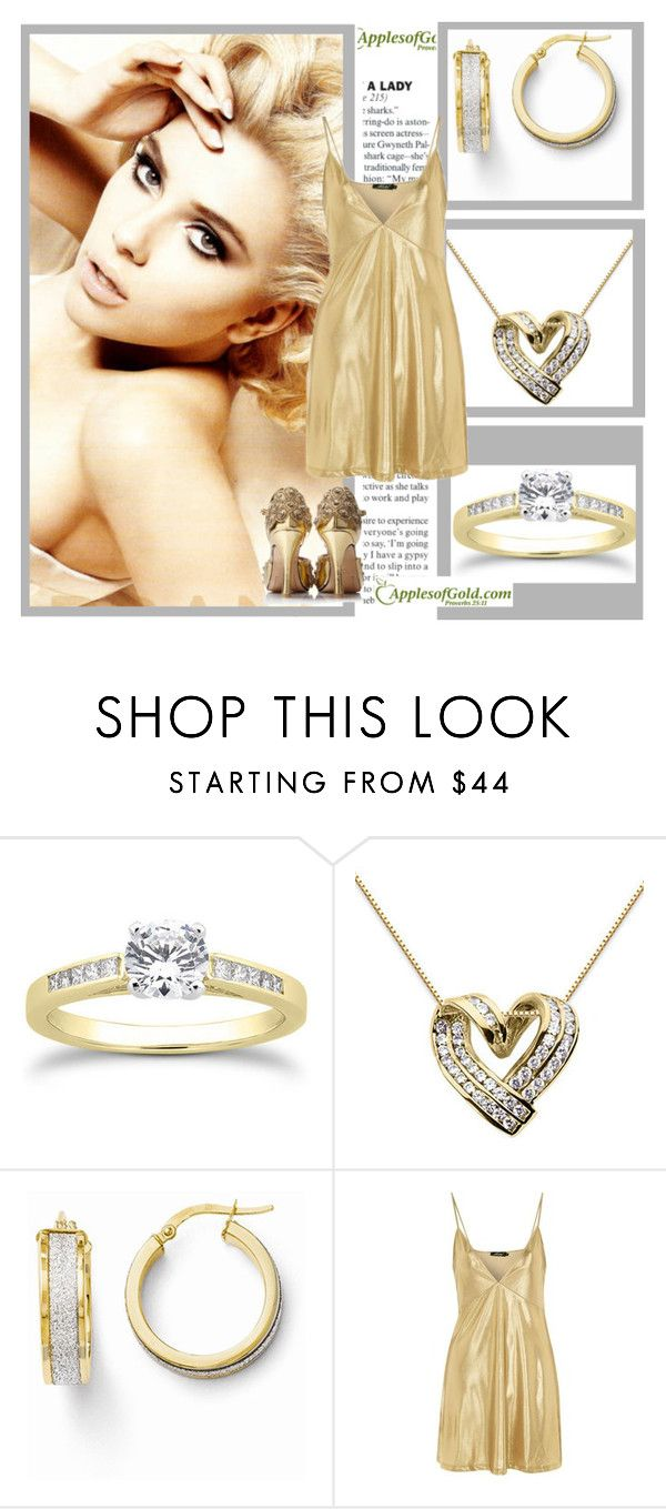 """""""ApplesofGold.com-Diamond yellow and white"""" by followme734 ❤ liked on Polyvore featuring Dolce&Gabbana, Motel and applesofgoldjewelry"""
