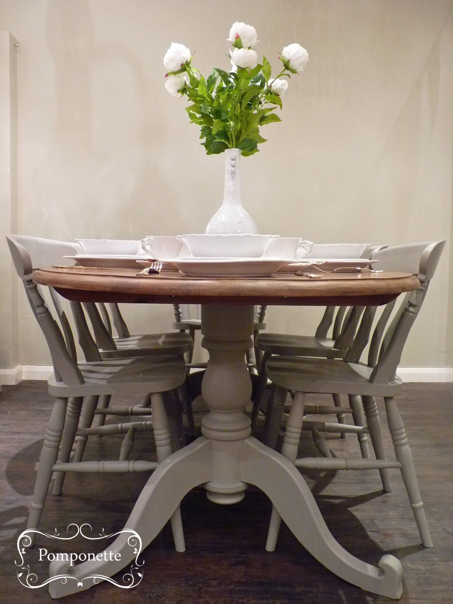 gray kitchen table Oval Dining Table and Six Chairs Pedestal detail anniesloanhome custom mix to create