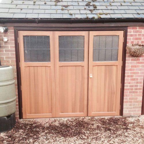 Cardale Timber Side Hinged Garage Door 70 30 Split Ibstock Design Fully Finished In Light Oak Stippl Garage Doors Side Hinged Garage Doors Timber Garage Door