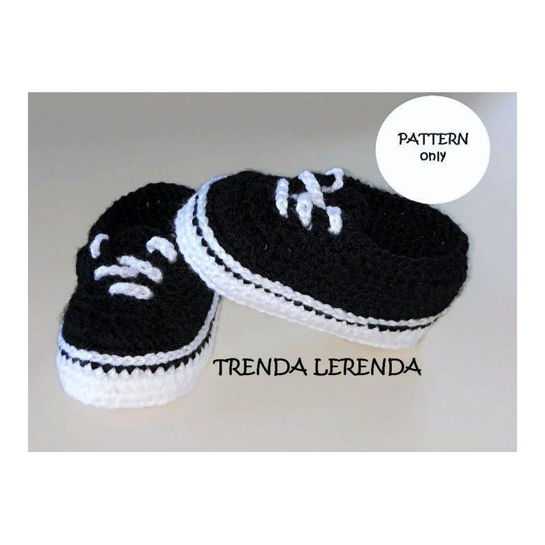 e4a37d10d Vans Old Skool Authentic baby booties Crochet pattern by Trenda Lerenda