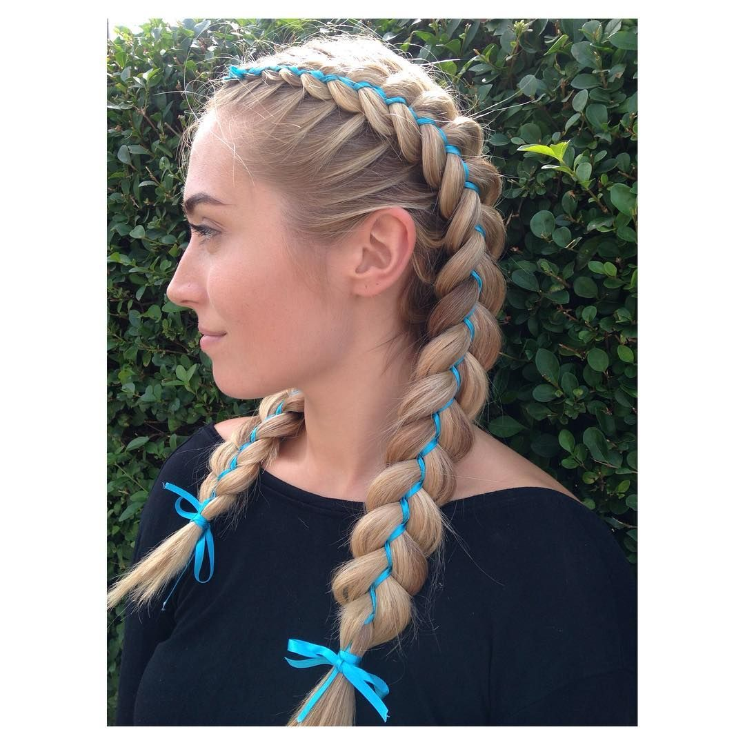 Image Result For Dutch Braids With Ribbons Dutch Braid Hairstyles Hair Styles Braided Hairstyles