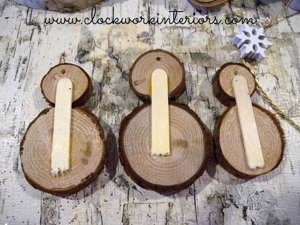 How To Make Wood Slice Snowmen Ornaments Wood Slice Crafts