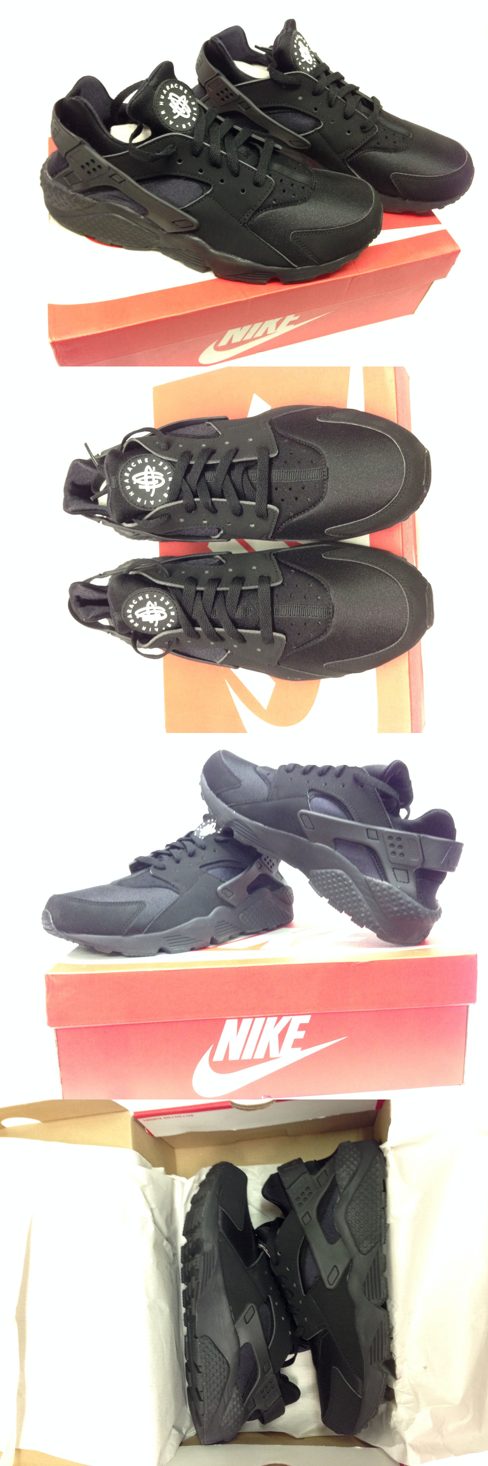 Athletic 15709: New Men S Nike Air Huarache Running Shoes 8-13 Size Black