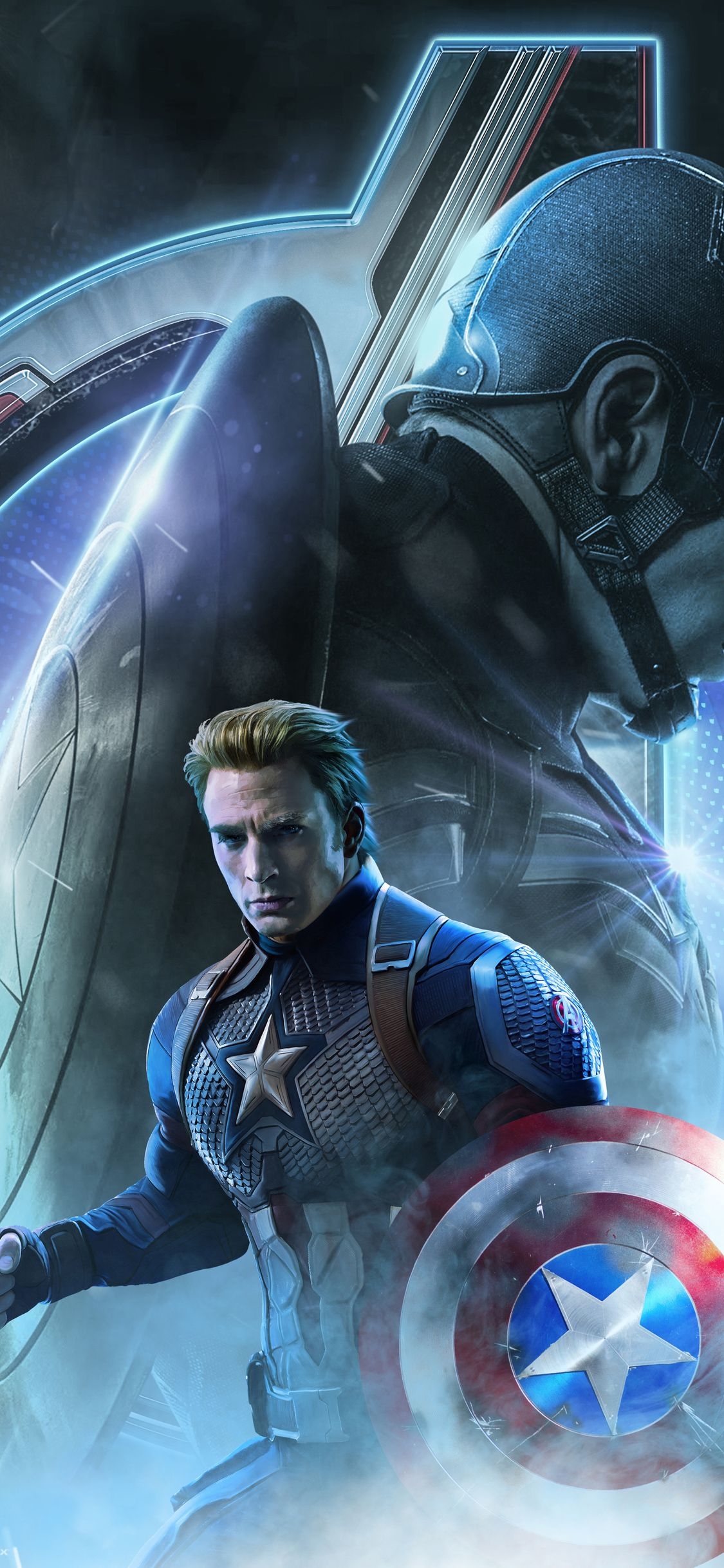 1125x2436 Captain America In Avengers Endgame 2019 Iphone Xs Iphone 10 Iphone X Hd 4k Wallpapers Images In 2020 Captain America Wallpaper Captain America Art Marvel