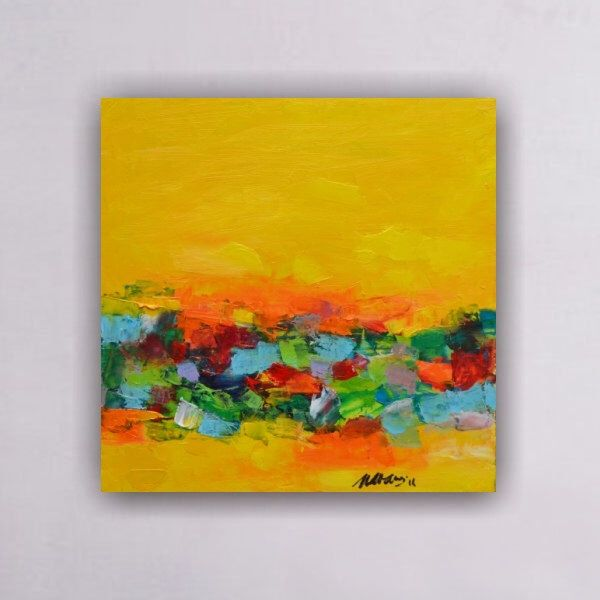 Abstract painting, Original abstract painting, Yellow painting, Wall ...