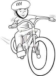 Bicycle Rodeo Clip Art White Cartoon Of A Boy Riding A