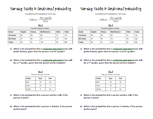 Conditional Probability Two Way Table Worksheet Answer Key | Elcho Table