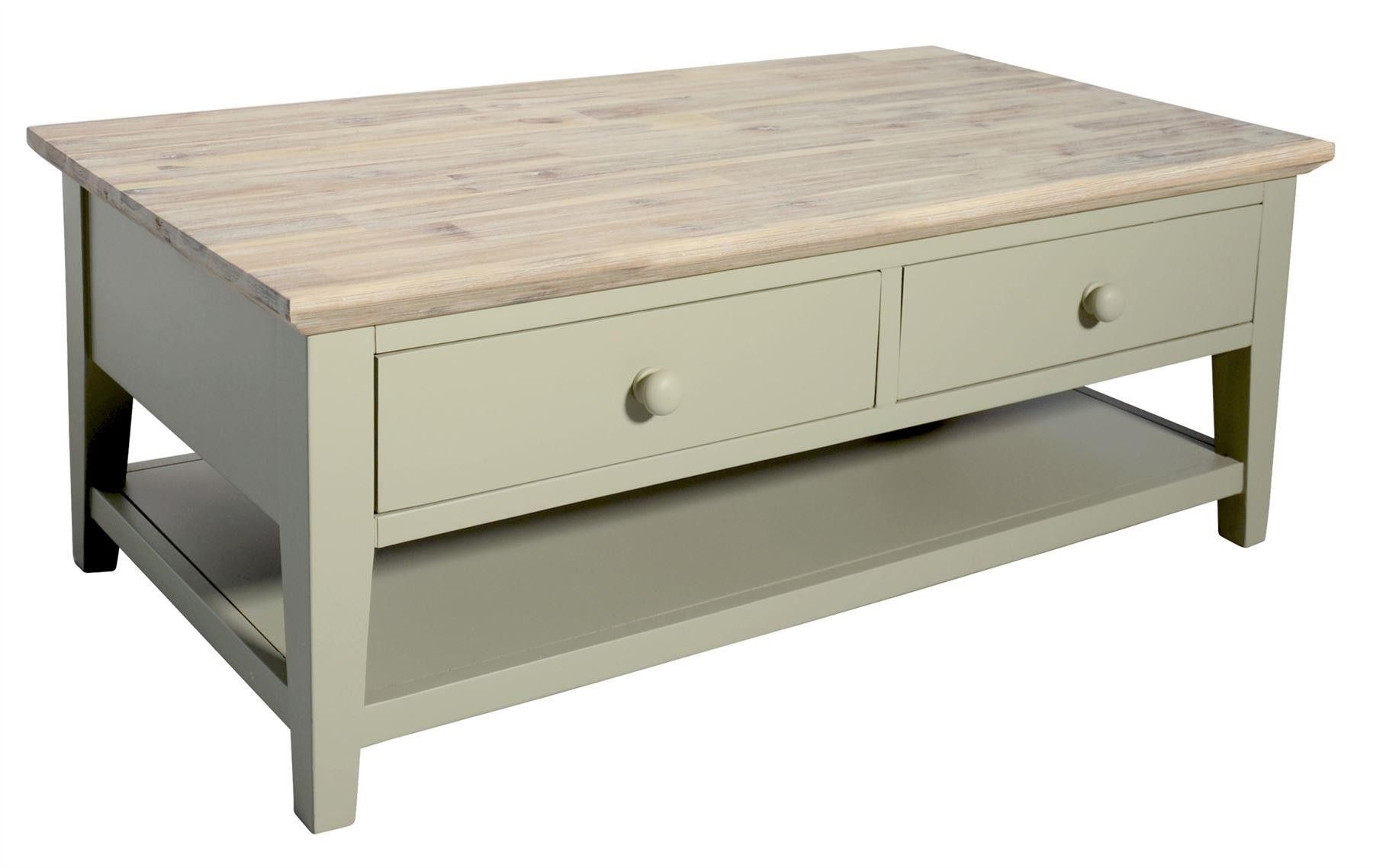 Florence Coffee Table With 2 Drawers And Shelf Sage Green Green Coffee Tables Coffee Table With Drawers Pine Coffee Table [ 1138 x 1800 Pixel ]
