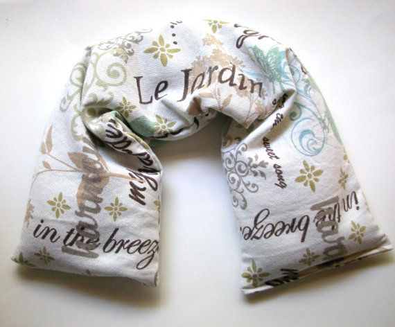 Flaxseed Neck Wrap Garden Print Flax Seed Pillow Microwavable By Aquarianbath 16 75 Bean Bag