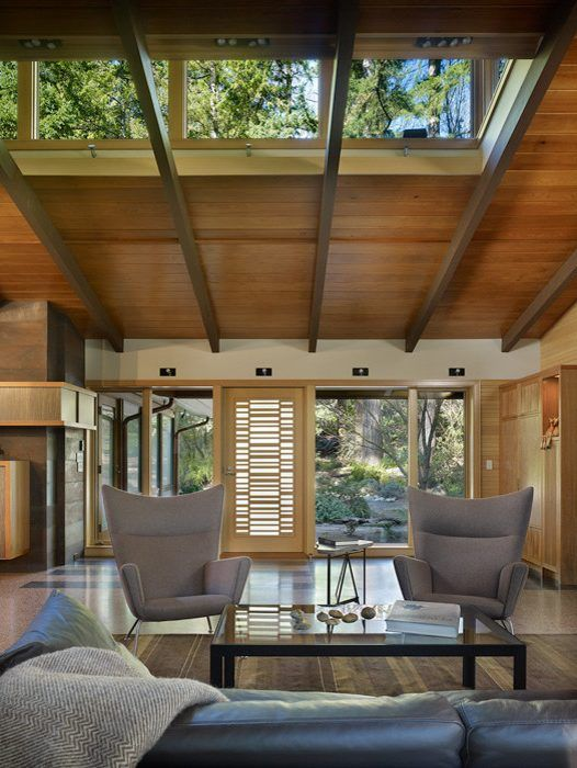 Modern dormer designs living room midcentury with high ...
