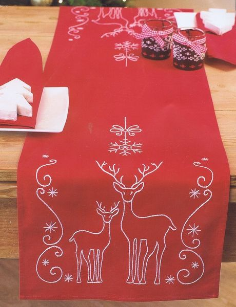 Deer And Snowflakes Table Runner Embroidery Kit By Vervaco Christmas Table Runner Christmas Embroidery Christmas Runner