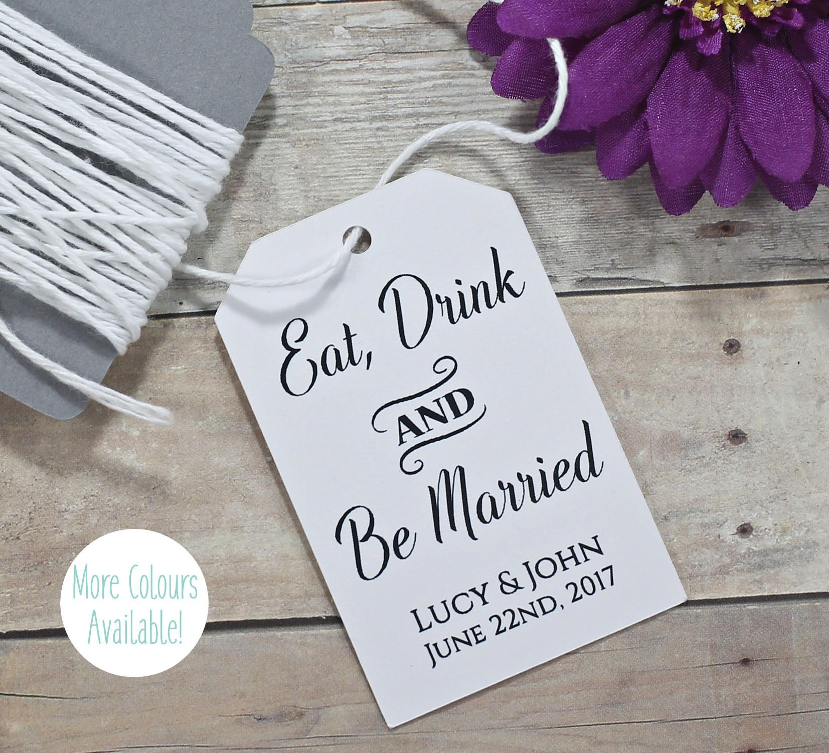 Eat Drink and Be Married Wedding Tags (Set of 20) - Personalized ...