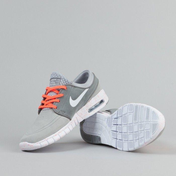 ea239c94d3e1 Nike SB Stefan Janoski Max Suede Shoes - Wolf Grey   White   Cool Grey   Hot  Lava