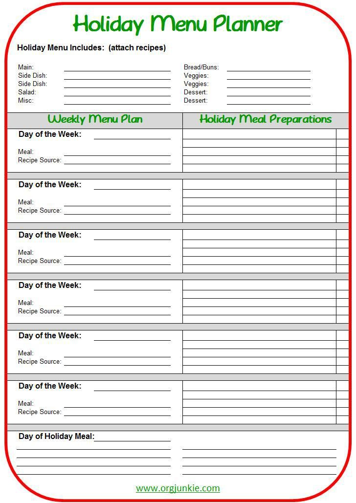 Holiday Meal Planning Made Easy Free Printable Holiday Menus Holiday Meal Planning Holiday Menu Planning