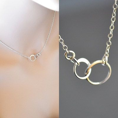 Photo of Silver Eternity Necklace, Three Circle Necklace, Sterling Silver Dainty Jewelry, Three Sister Jewelry