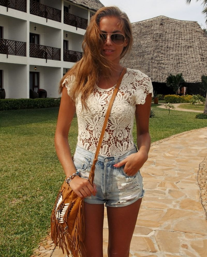 sunglasses brown shoulder bag shorts top lace white gorgeous casual clothing outfit style fashion apparel women