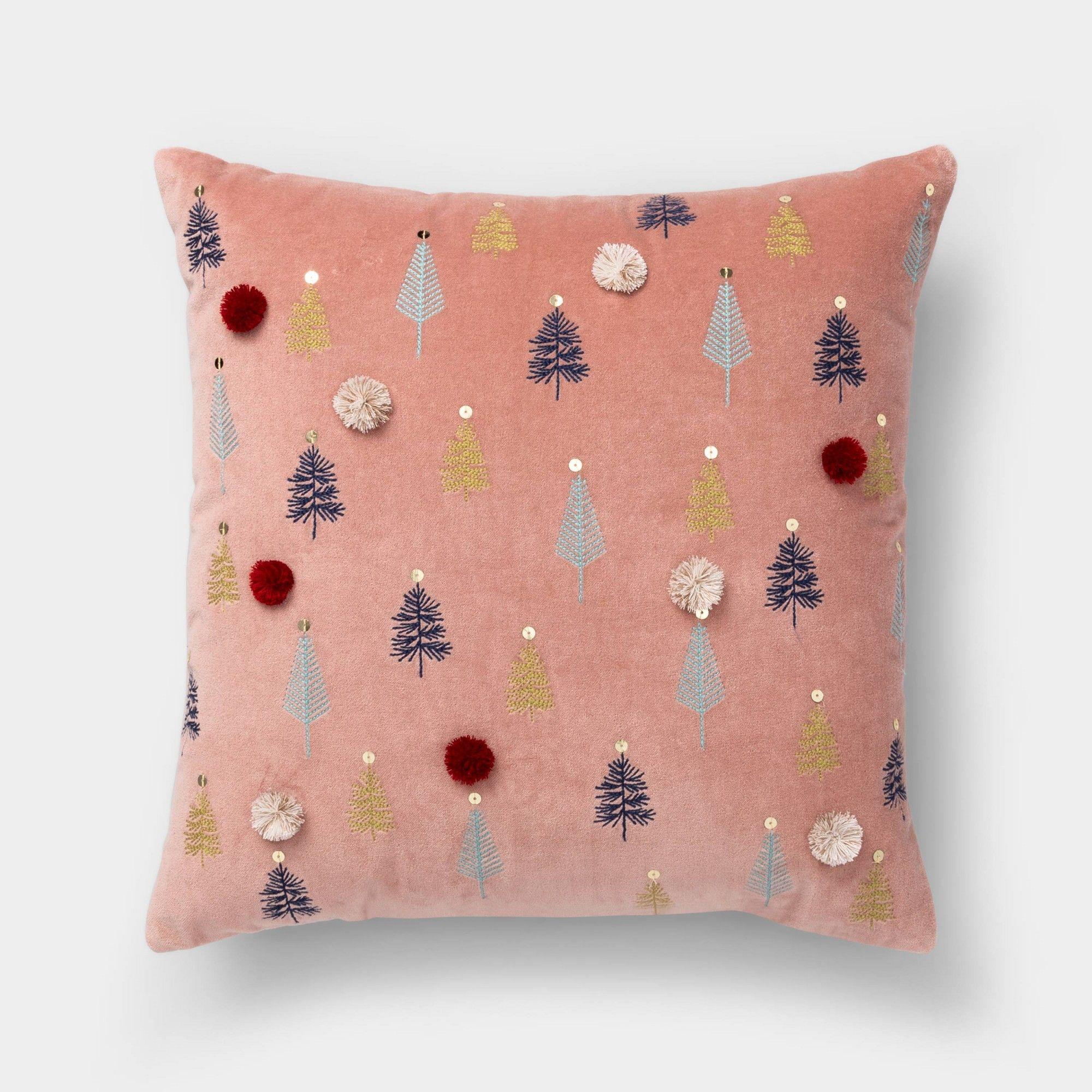 Threshold Throw Pillow Doe White Silver Metallic Reindeer Mistletoe 18 x 18 New