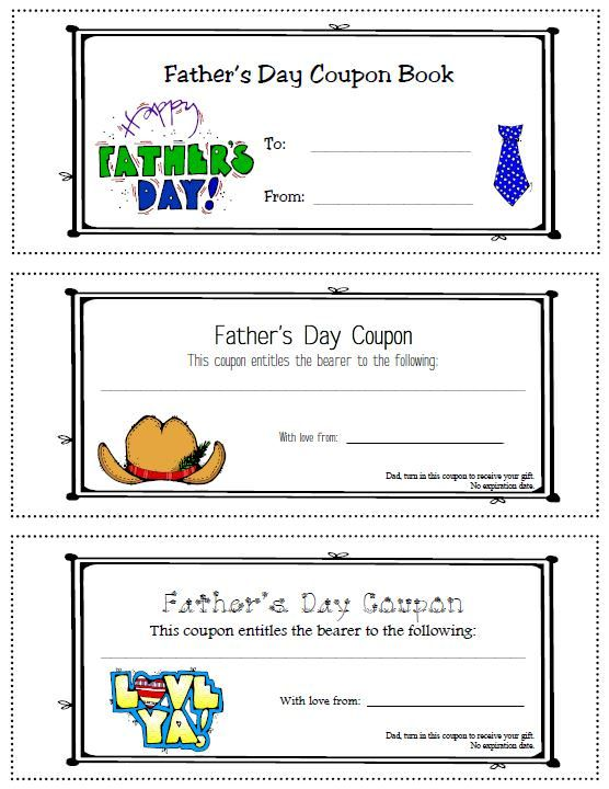 Father S Day Service Coupon Book Free Printable Fathers Day