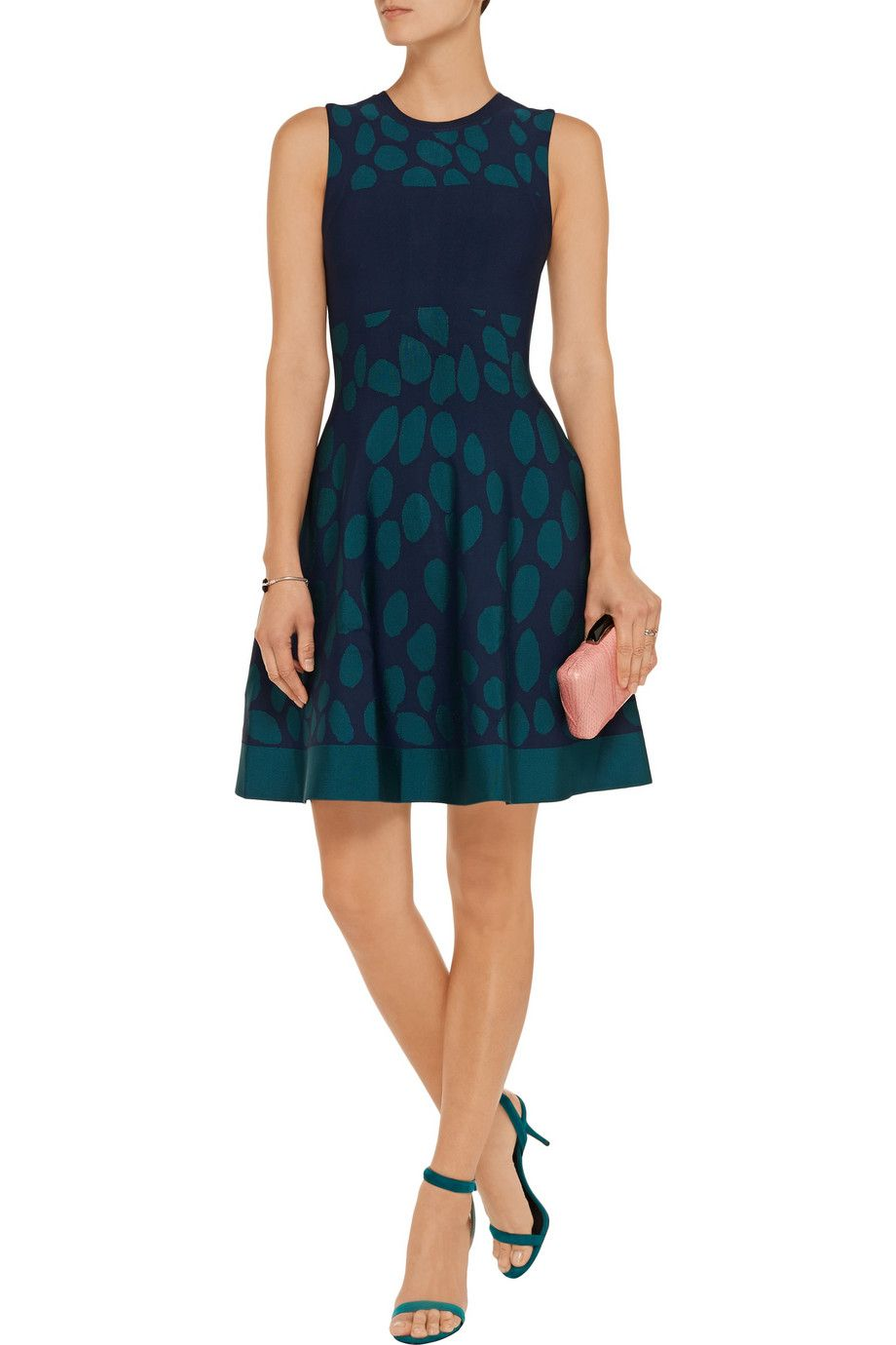 IssaPrinted stretch jacquard-knit dressfront