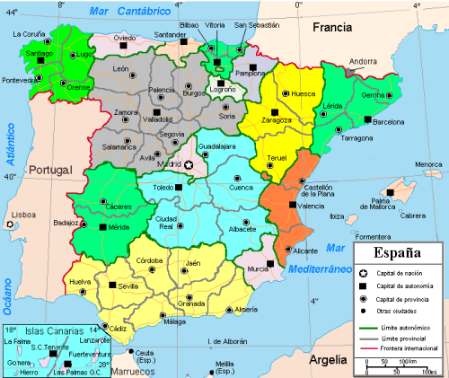 Mapa De España Provincias Y Capitales | Marketingfinest
