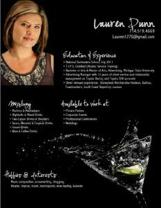Bartending Resume Endearing Custom Bartending Resume  Highlight Your Good Looks With Your
