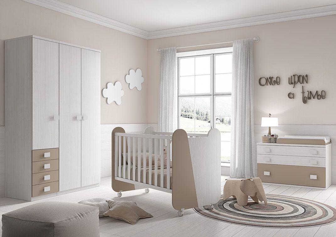 Dormitorio infantil fabricado en madera sint tica compuesto por cuna con barandilla y ruedas - Shiade sofas ...
