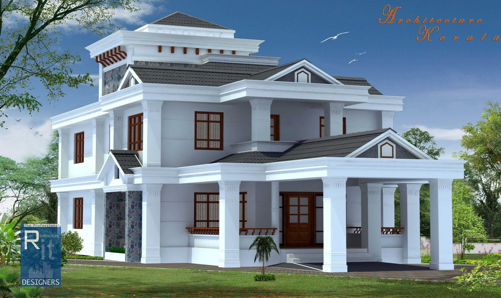 new style kerala house design 20  Mediterranean Pinterest