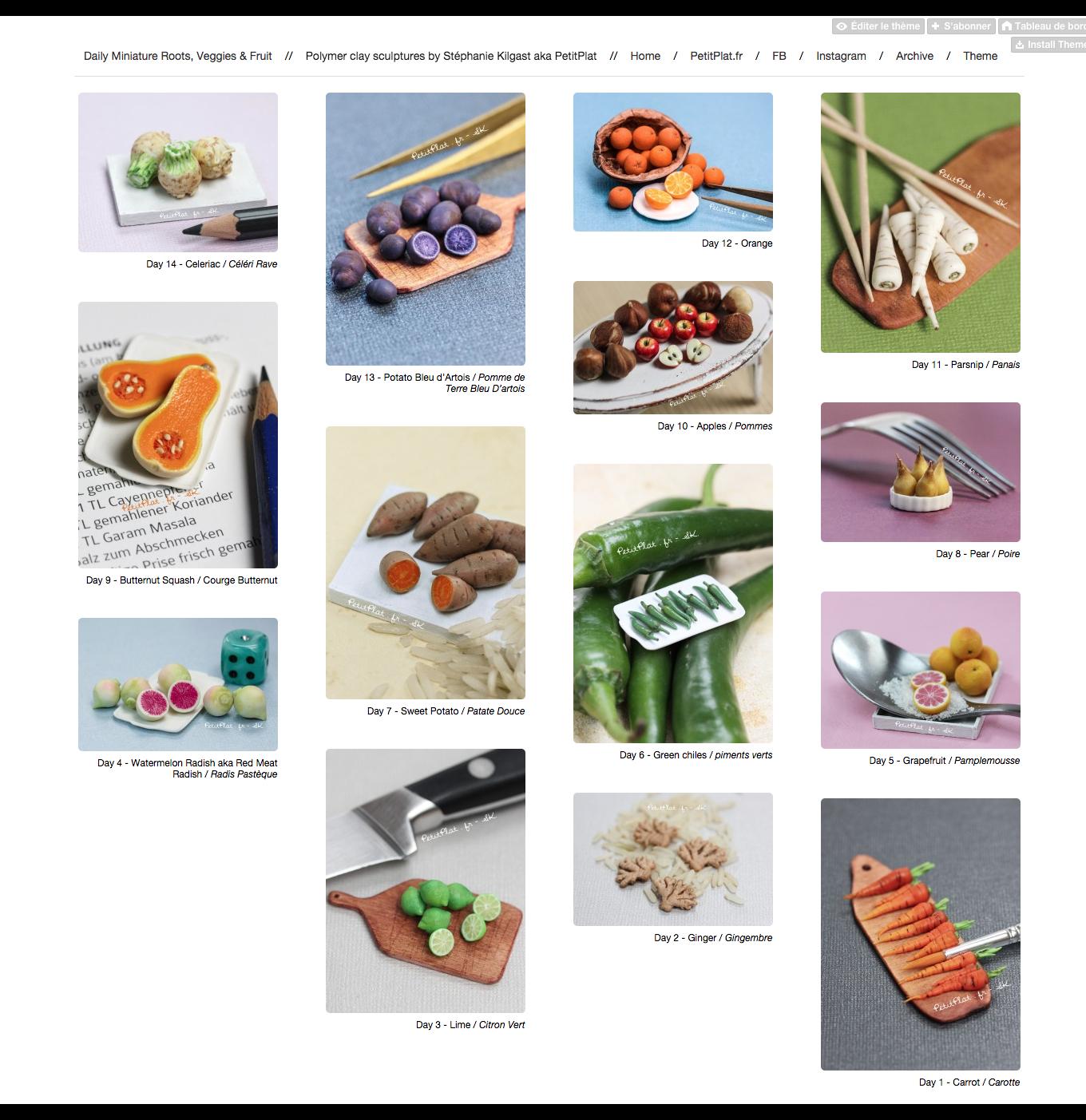 Miniature Food Veggies and Fruit, Stephanie Kilgast, PetitPlat #polymerclay #miniatures #365challenge
