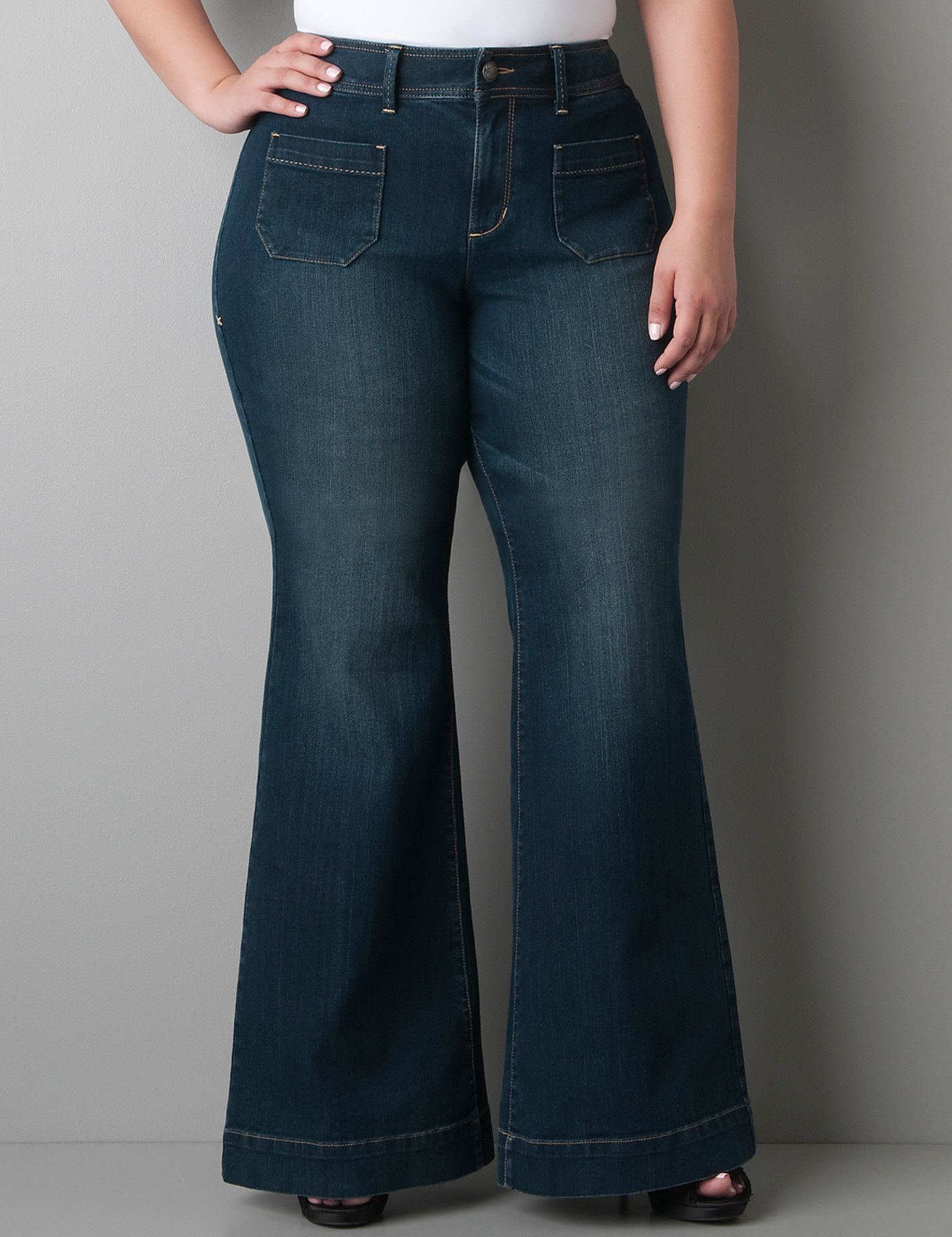 Plus size Denim bell bottom | Lane Bryant | Pretty Plus Size ...