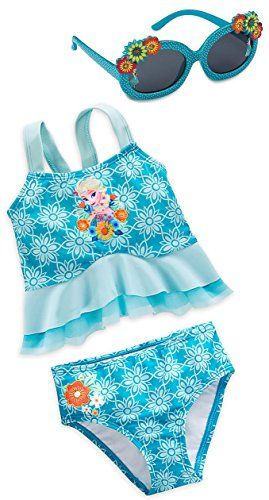 49ec8c81b967e Disney Store Frozen Elsa Little Girls Deluxe Swimsuit and Sunglasses Set  Size 56   Learn more by visiting the image link.