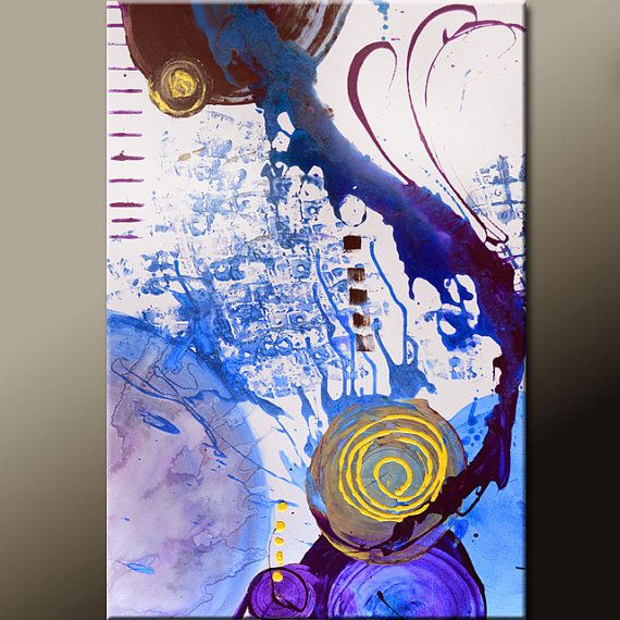 Abstract Art Painting 36x24 Canvas Original by wostudios on Etsy, $129.00