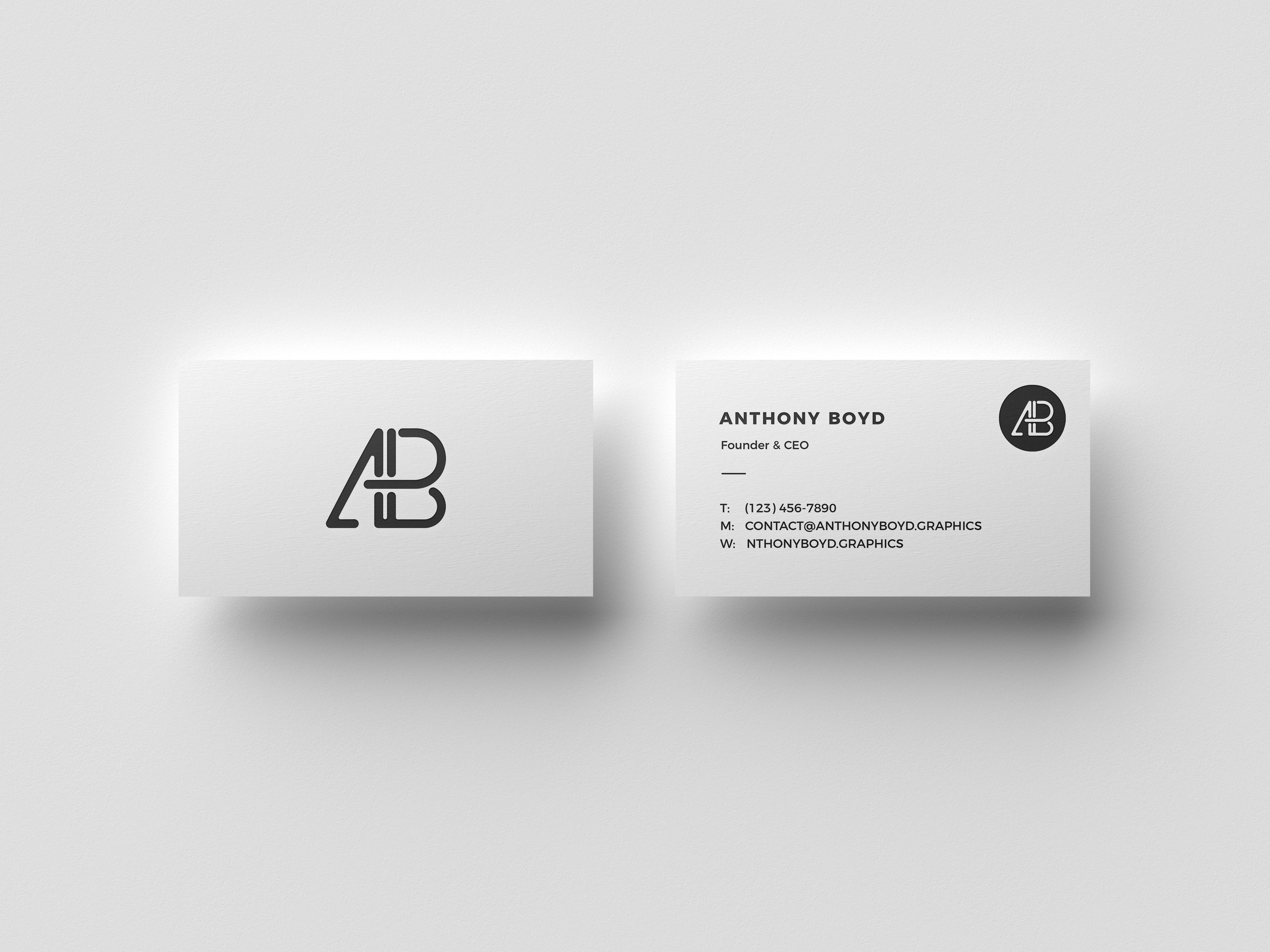 Business Card Top View Mockup Business Card Mock Up Minimalist