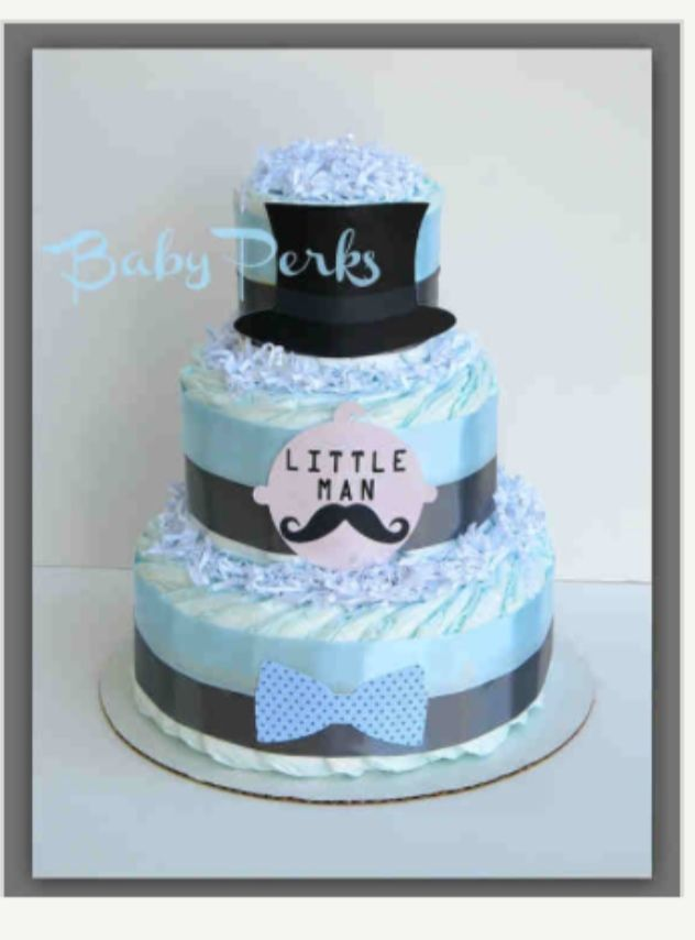 Diaper Stack Or Inspiration For A Cake Mustache Baby Shower