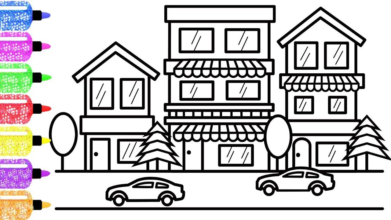 How To Draw A Colorful City Scene For Kids Coloring Page For Kids Coloring Book For Children Kids Coloring Book Coloring For Kids Coloring Books