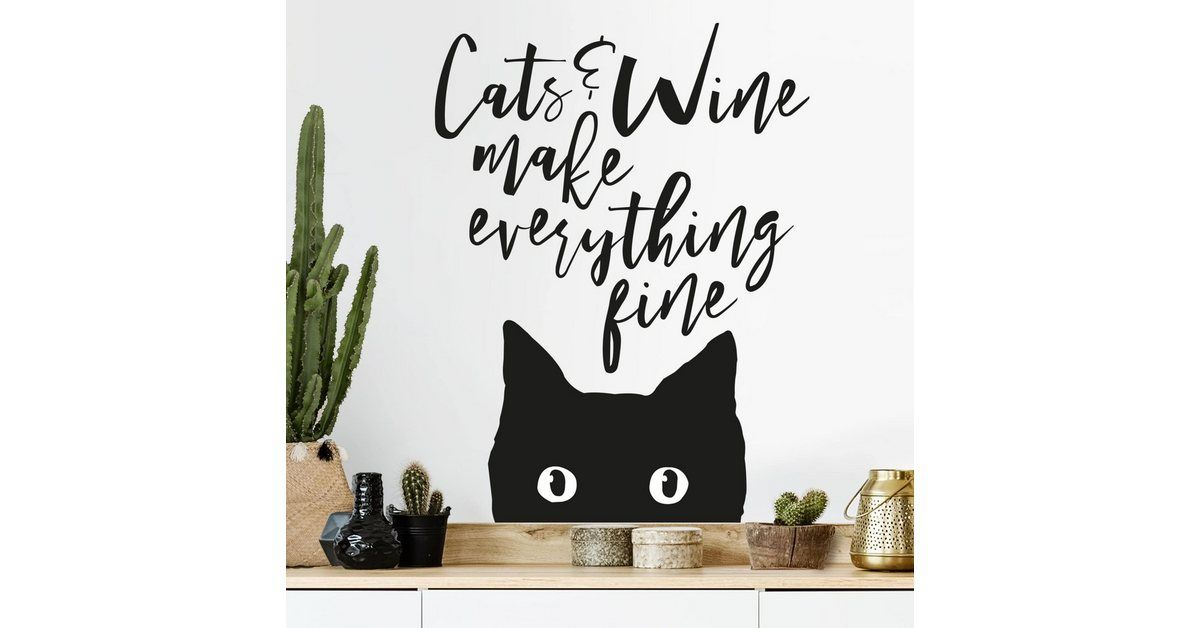 Photo of Wandtattoo »Cats and Wine make everything fine«