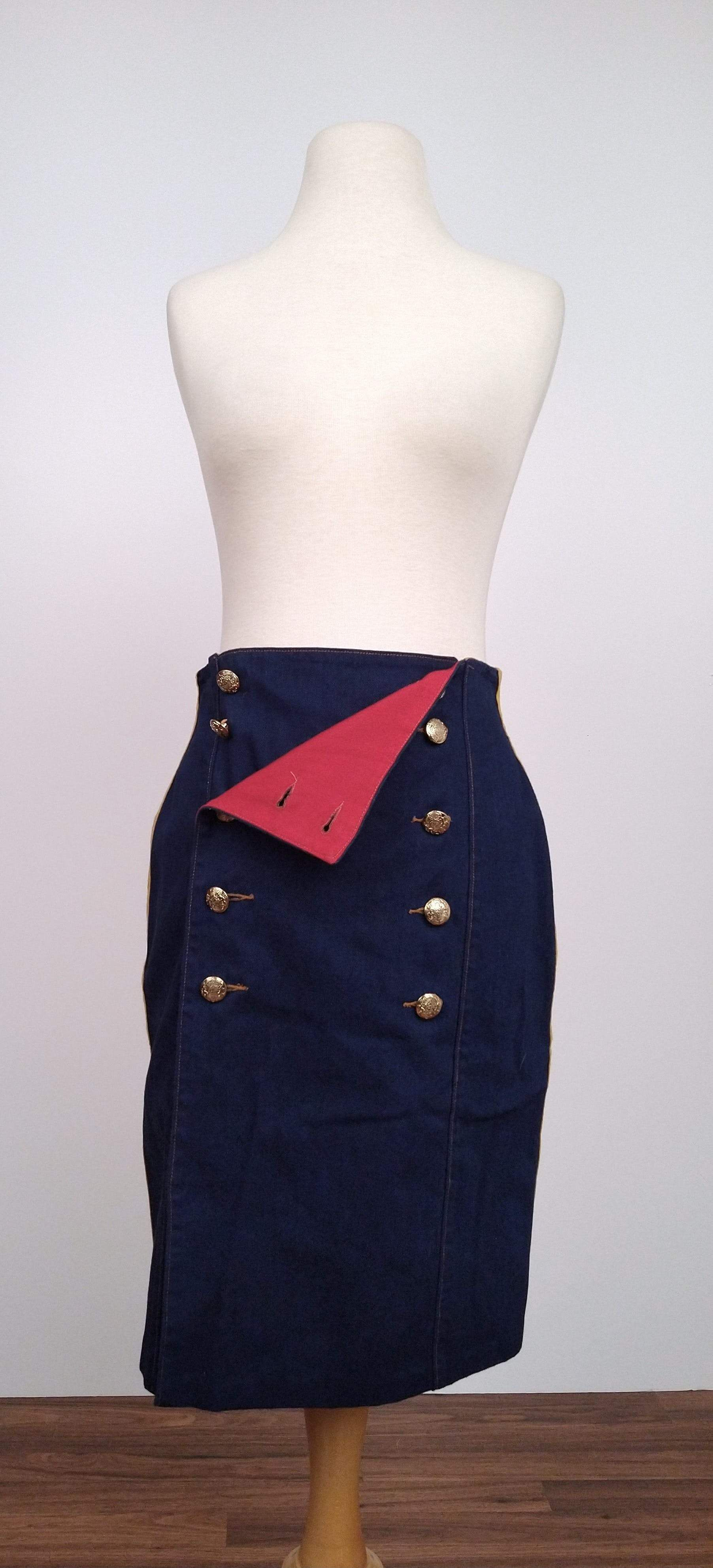 Photo of 90's Sailor Style Wrap Skirt Crest Buttons by Looking Forward The Forge