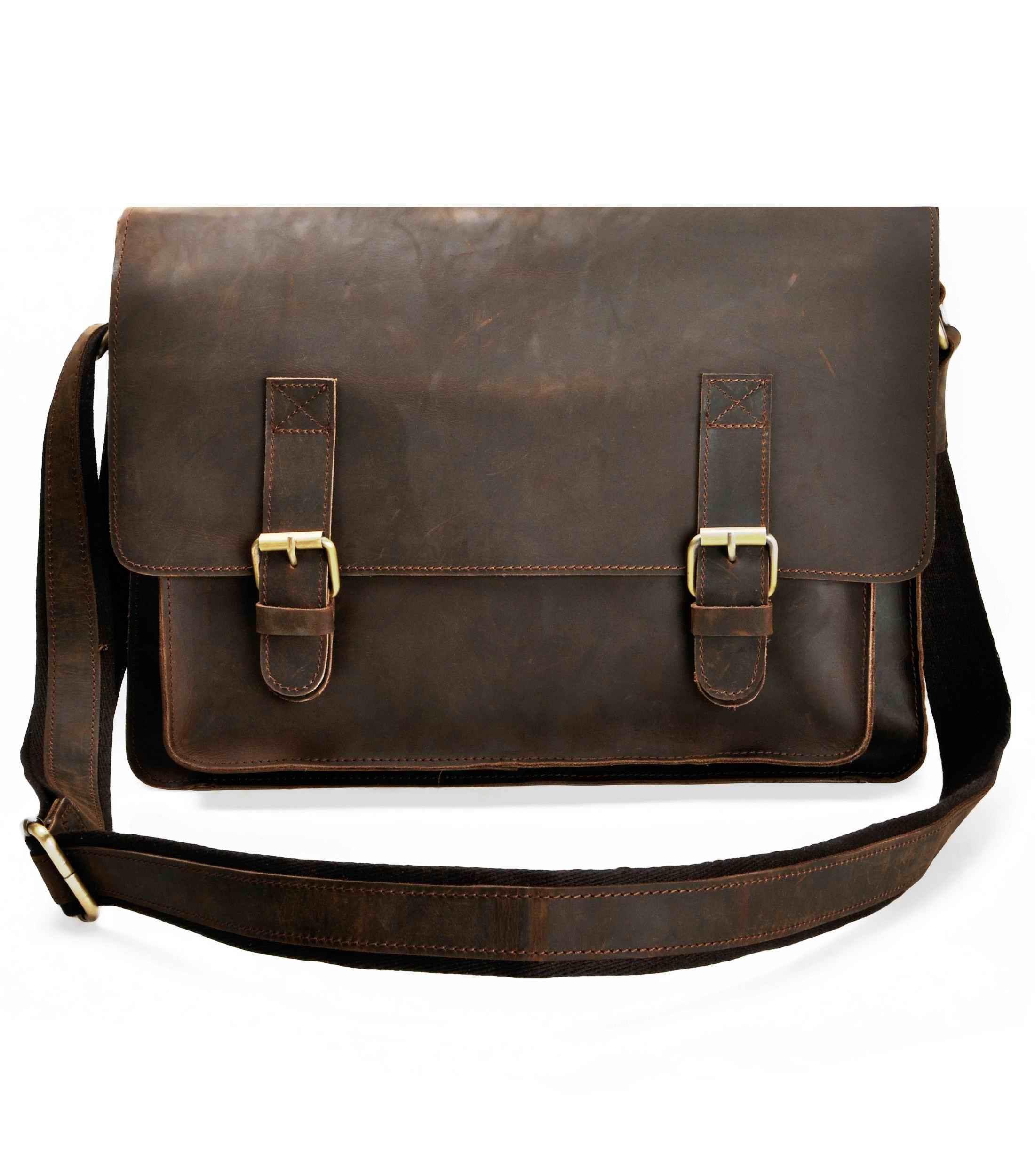 12deca81ad83 ZLYC Men Vintage Handmade Leather Messenger Bag Shoulder Briefcase Fit 14  Inch Laptop