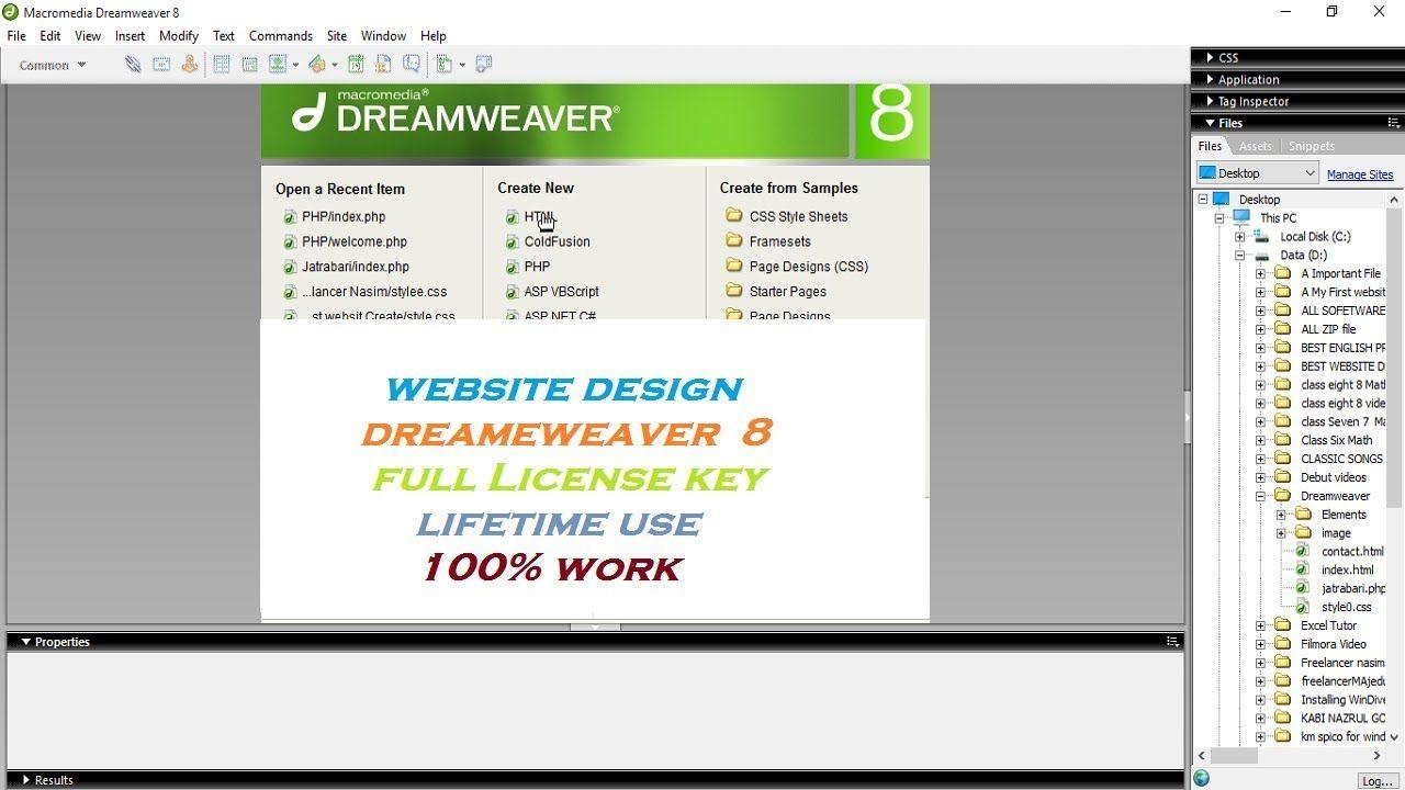 Website Design Macromedia Dreamweaver 8 Download Install And