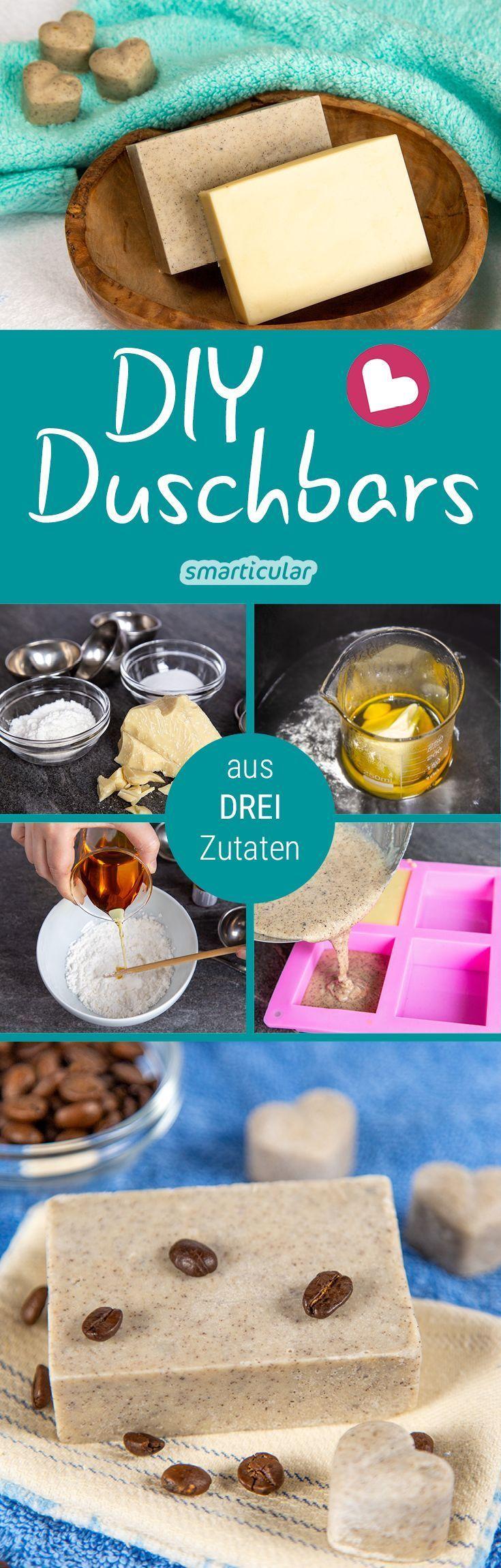 Dusch-Bars sind eine besonders milde Alternative zu flüssigen Duschgels oder Körperseifen. Mit diesem Rezept aus drei Zutaten kannst du das pflegende Duscherlebnis in wenigen Minuten herstellen.