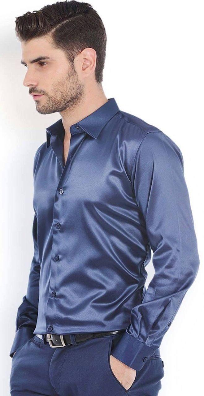 Silk satin suits metallic shiny silk satin for Men s wedding dress shirts