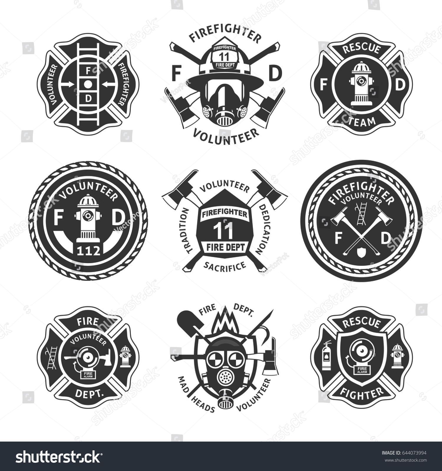 Vintage Monochrome Firefighting Labels Set With Inscriptions