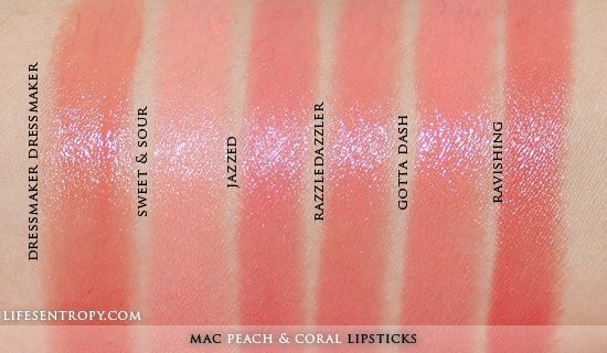 MAC Peach & Coral Lipstick Collection Swatches | Makeup ...