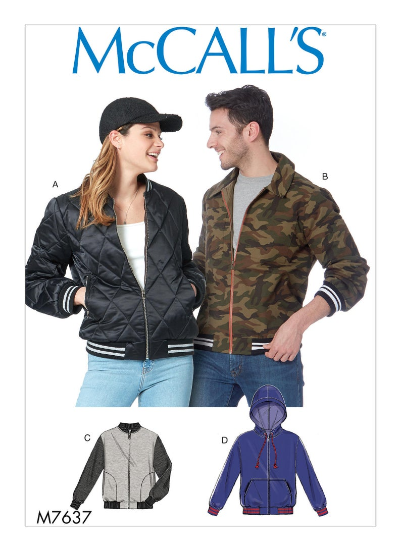 Sewing Pattern For Misses And Men S Bomber Jackets Etsy Patterned Bomber Jacket Jacket Pattern Sewing Bomber Jacket [ 1092 x 794 Pixel ]