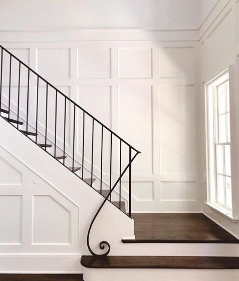 Elegant and Understated Railing and Paneling by (insta @chiottcustomhomes). Interior Design, Metal Railing, Wall Paneling, Hardwood Floors, Interior Design Ideas, Stairway Ideas, Railing Ideas, Home Design, #interiordesign #stairway #stairwayideas #foyerideas #homedesign