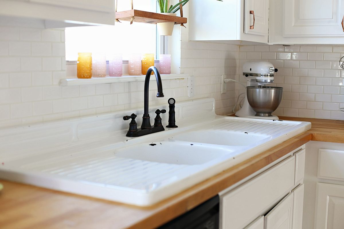 Extended Cast Iron Sink With Wood Countertops