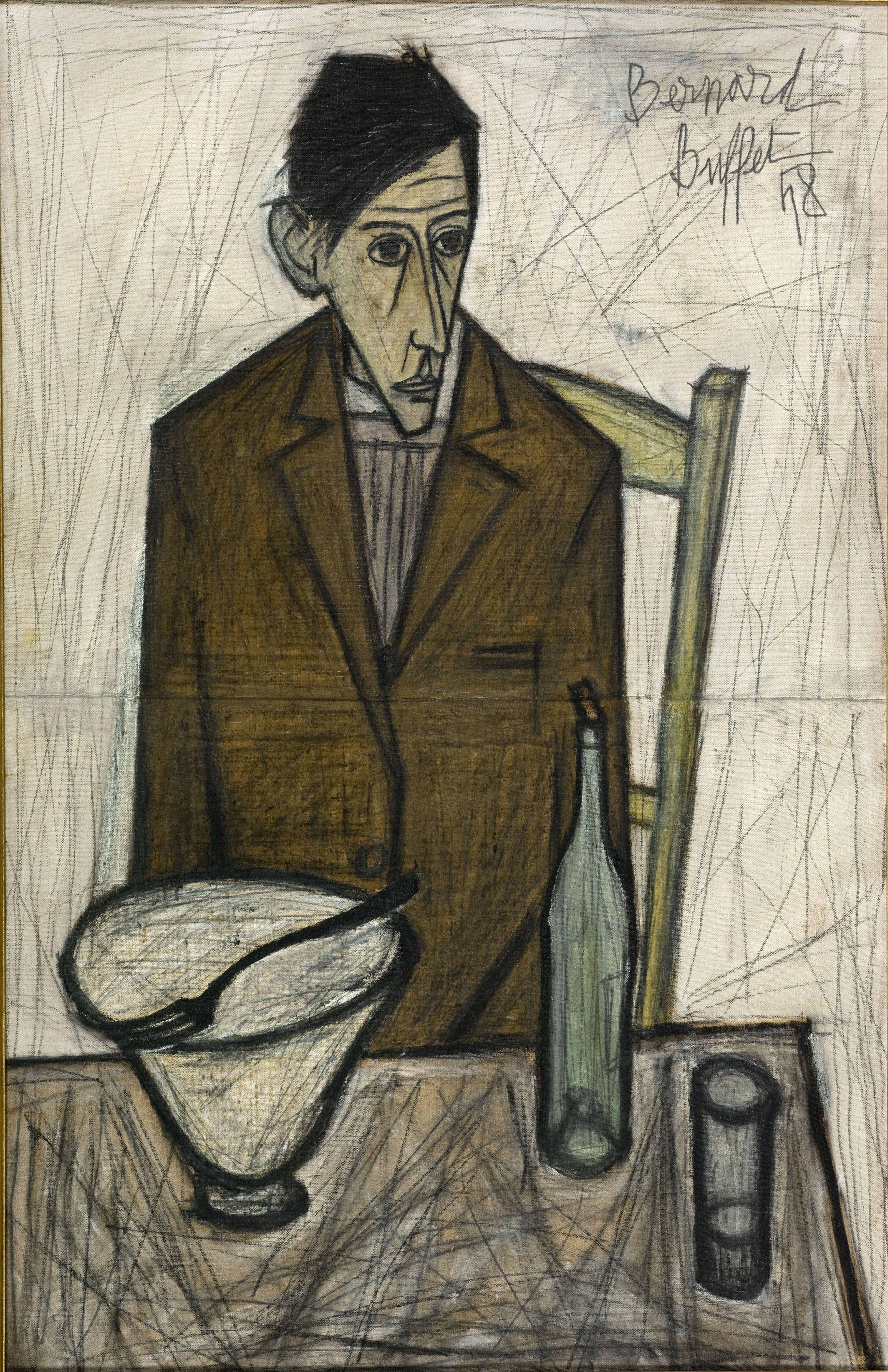 Bernard buffet le buveur 1948 huile sur toile 1 x 0 65 for Buffet peintre