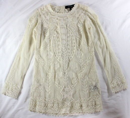 "~~~ ROMANTIC-HIPSTER ~~~ ISABEL MARANT $850 ""DIANE"" CREAM MESH-STAR TOP ~ 38 #IsabelMarant #EmbroideredMeshTop"