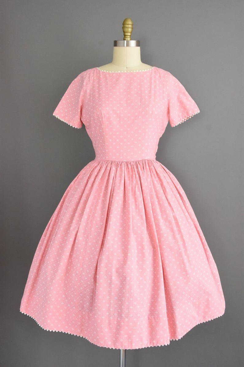 50s Dress Small Size 4 Vibrant Pink Cotton Print Short Sleeve Full Skirt Day Dress 1950s Vintage Dress Day Dresses Dresses Bridal Dresses Vintage [ 1191 x 794 Pixel ]
