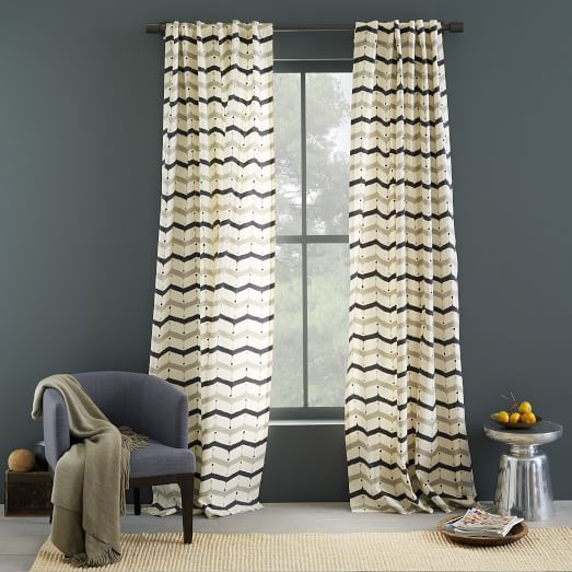 Cotton Printed Curtain Dotted Chevron West Elm Printed Curtains Curtains And Draperies Chevron Curtains