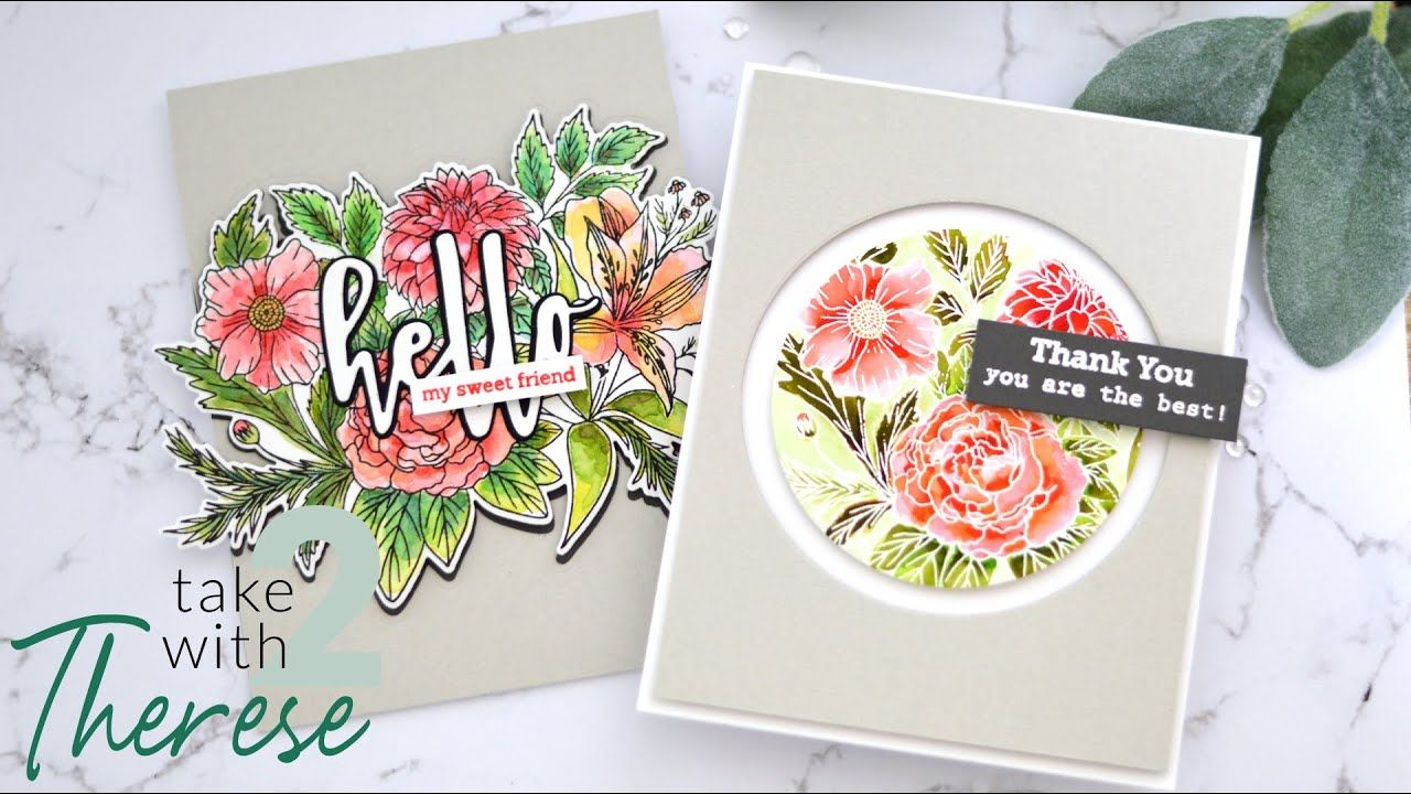 How To Make 2 Same But Different Floral Watercolour Cards With